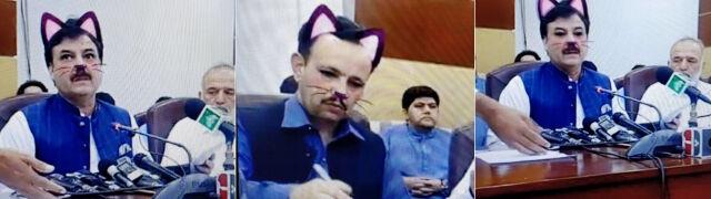 Pakistański minister z kocimi uszami. Wpadka podczas transmisji