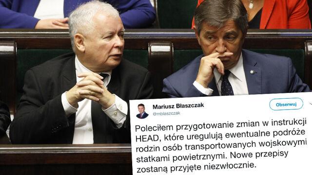 Propozycja Kaczyńskiego w sprawie lotów  z rodzinami. Szybkie reakcje ministrów