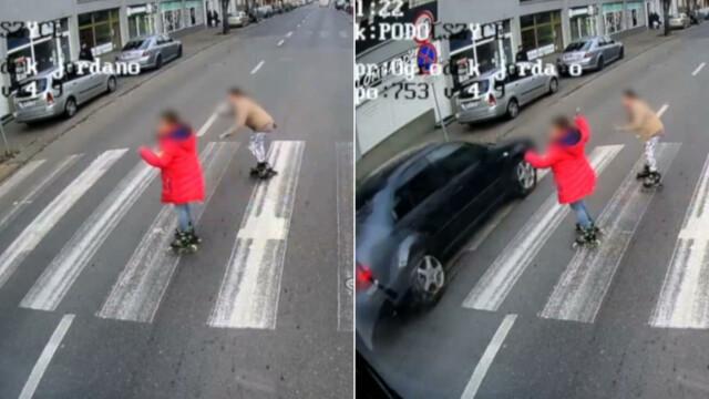 Dziewczynki wjechały na rolkach na pasy. Jeden kierowca się zatrzymał, drugi prawie je zmiótł