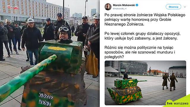 Tekturowy czołg za żołnierzami warty honorowej. MON zawiadamia prokuraturę