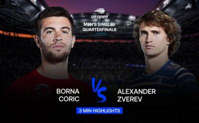 Skrót meczu Corić - Zverev w ćwierćfinale US Open