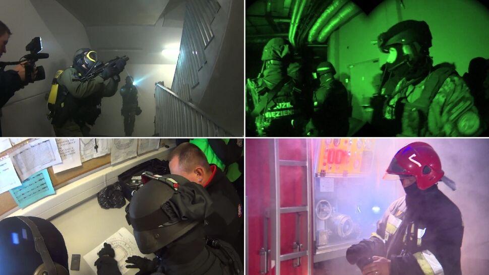 Antyterroryści, pożar i dużo wybuchów.  Nocne ćwiczenia służb we Wrocławiu