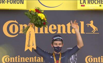 Kwiatkowski na podium po wygraniu 18. etapu Tour de France