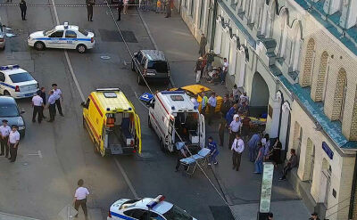 Taksówka wjechała w tłum ludzi w centrum Moskwy