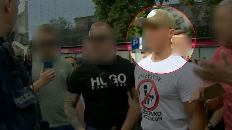 Szef gangu kiboli na kontrmanifestacji w Białymstoku. Obok działacze PiS