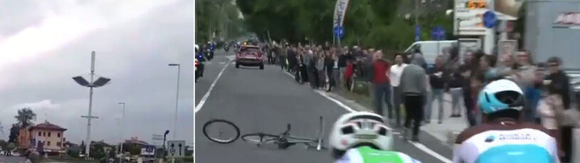 Wtargnął na trasę i rzucił rower przed pędzących kolarzy. Chuligański wybryk na Giro