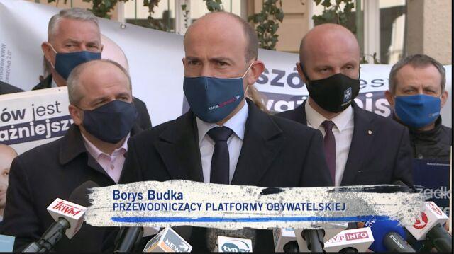 Borys Budka na konferencji prasowej w Rzeszowie