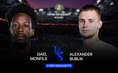 Skrót meczu Monfils - Bublik w 1. rundzie Roland Garros