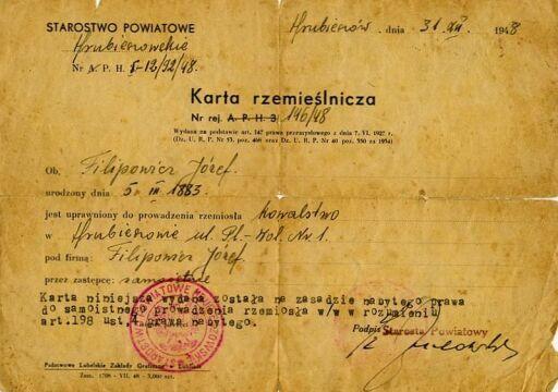 Karta rzemieślnicza wystawiona na nazwisko Józefa Filipowicza przez Starostwo Powiatowe w Hrubieszowie. Po ucieczce z Porycka Józef Filipowicz osiadł w Hrubieszowie