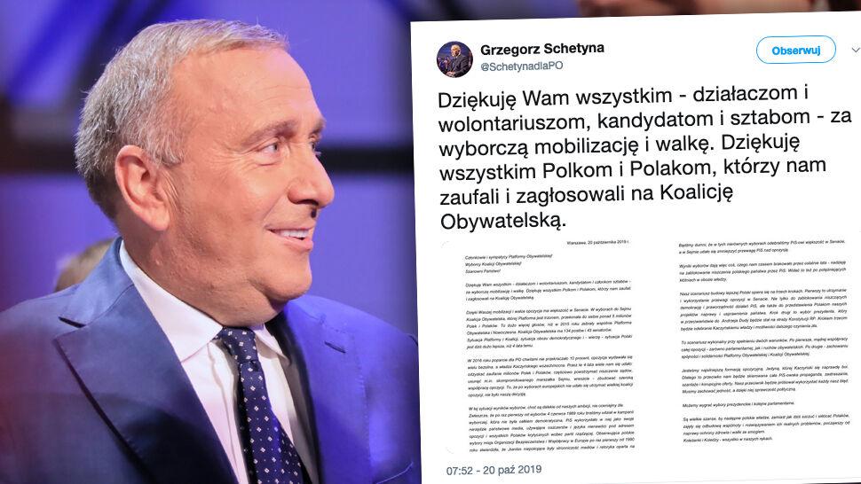 """Schetyna przyznał, że wynik wyborów jest """"daleki od ambicji"""". I przedstawił """"trzy kroki"""""""
