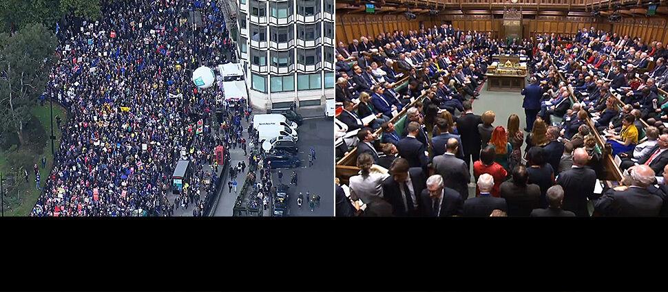 Poprawka może wywrócić głosowanie nad brexitem.  Na ulicach Londynu tłumy