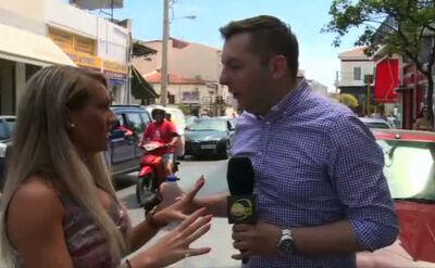 """""""Calm down"""". Greczynka uspokaja reportera podczas relacji na żywo"""