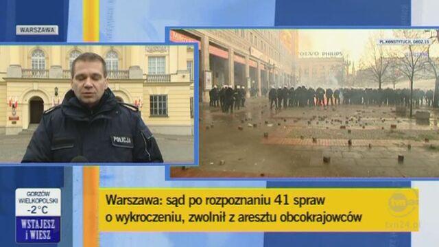 Maciej Karczyńki, rzecznik stołecznej policji o działaniach funkcjonariuszy/TVN24