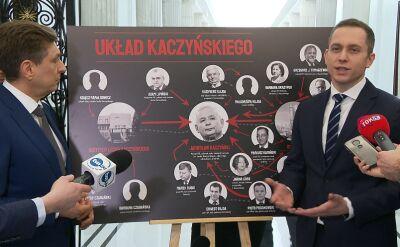 """Politycy PO prezentują tablicę """"Układ Kaczyńskiego"""""""