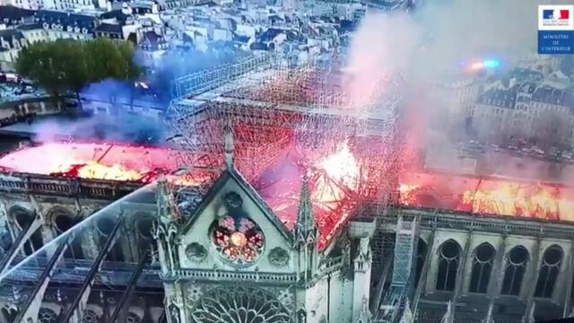 Płomienie trawiące dach Notre Dame. Ministerstwo pokazało film