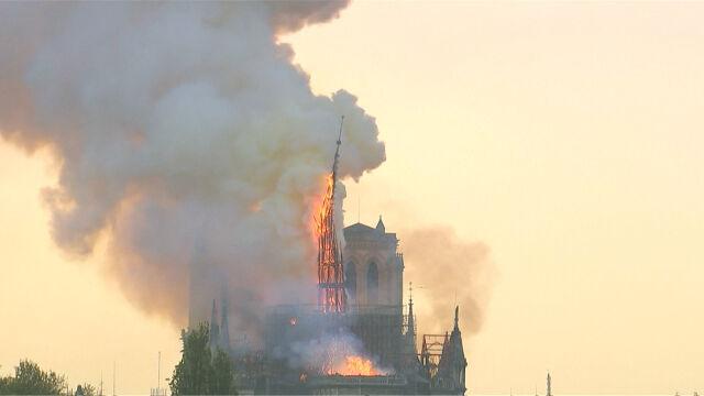 Zawaliła się iglica katedry Notre Dame. Nagranie świadka