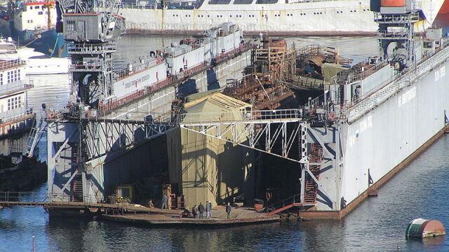 Na Krymie zatonął dok pływający  z okrętem podwodnym