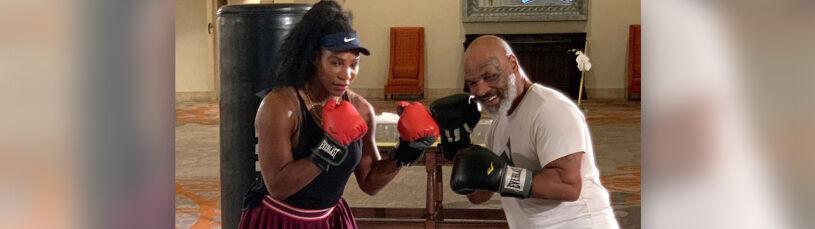Serena Williams w rękawicach bokserskich. Instruktorem Mike Tyson
