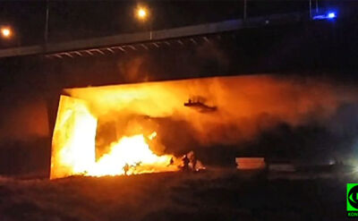 Most Łazienkowski w płomieniach