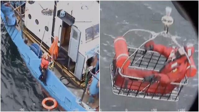 Kuter zaczął tonąć, rybakom pomogli ratownicy. Nagranie z pokładu Anakondy