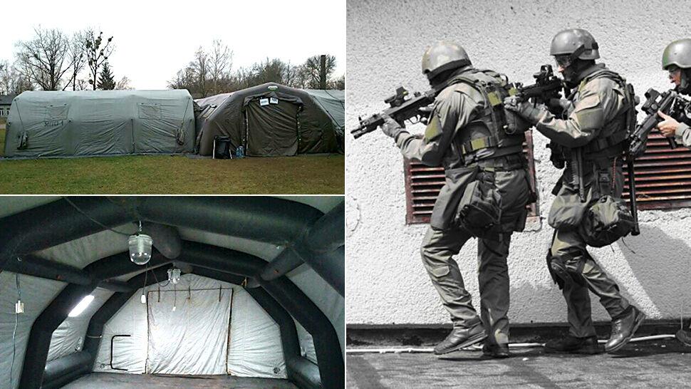Nocna ewakuacja policyjnych antyterrorystów. W namiotach niespełna 9 stopni