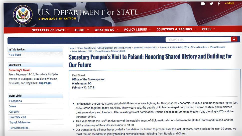 """Departament Stanu USA o """"podwalinach demokracji"""" i """"silnych więziach"""" z Polską"""