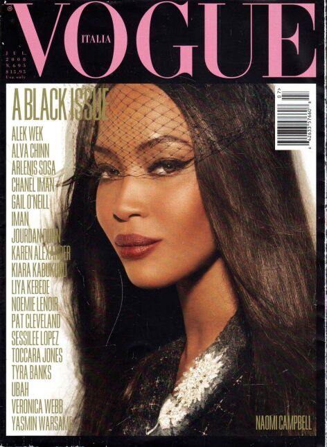 """All Black Issue"", lipiec 2008, ""Vogue Italia"" - Naomi Campbell"