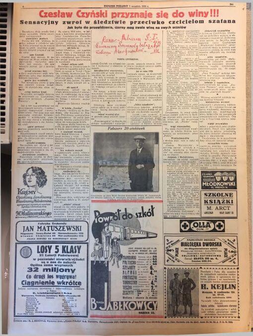 """""""Express Poranny"""" z 3 września 1930 r."""