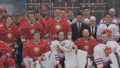 Prezydent Białorusi z asystą w meczu hokeja na lodzie