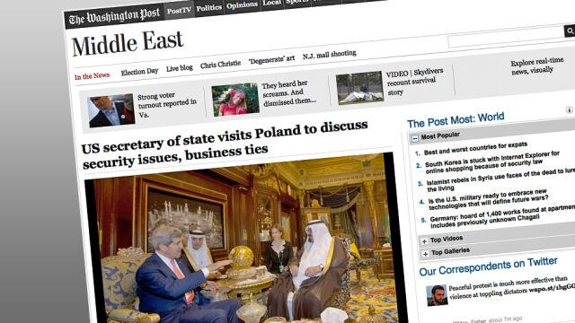 """Arabski przepych, czyli jak """"Washington Post"""" ilustruje wizytę Kerry'ego w Polsce"""