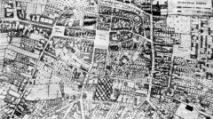 Plan miasta Wielunia ilustrujący zniszczenia wojenne miasta we wrześniu 1939 roku uwzględniający położenie Szpitala Wszystkich Świętych