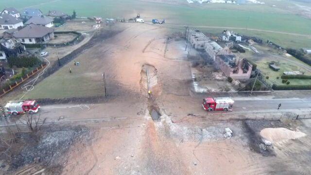Miejsce pożaru w Murowanej Goślinie na zdjęciach z drona