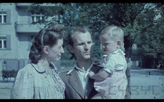 Adam Glapa z żoną i synem