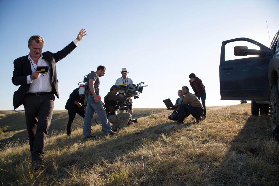 """Matthew McConaughey, Christopher Nolan i Mackenzie Foy na planie """"Interstellar"""""""