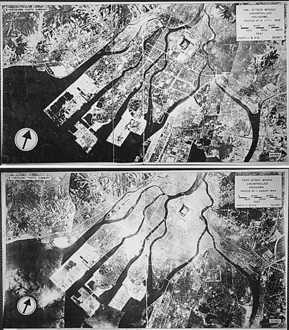 Hiroshima przed i po zrzuceniu bomby