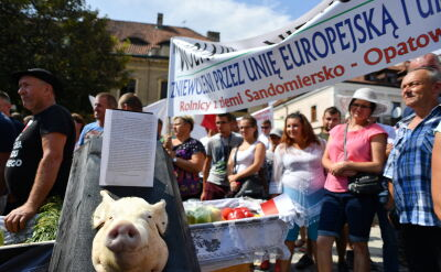 Trumna z głową świni i ostra wymiana zdań. Rolnicy protestowali podczas konwencji PiS