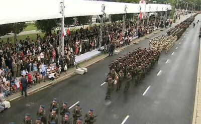 The march of soldiers in front of the tribune of honor