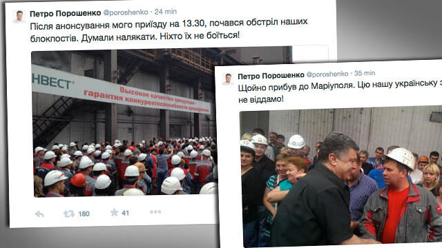"""""""Naszej ziemi nie oddamy nigdy"""". Poroszenkę w Mariupolu powitał ogień artylerii"""