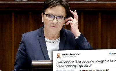 Politycy PO: Kopacz nie będzie kandydować na szefa PO