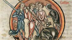 Autokastracja bobra i myśliwy z jądrami, miniatura z angielskiego bestiariusza, XIII wiek