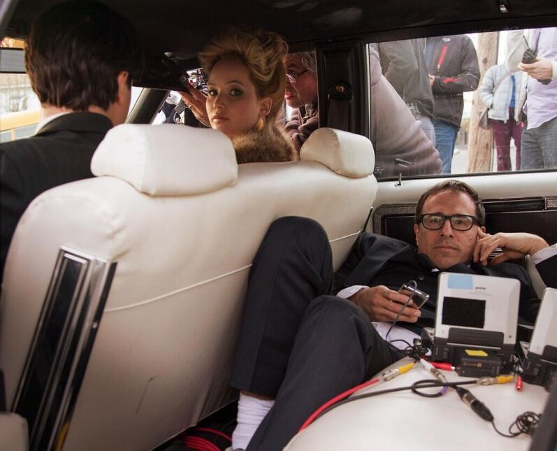 Na planie filmu - reżyser David O. Russell z Jennifer Lawrence