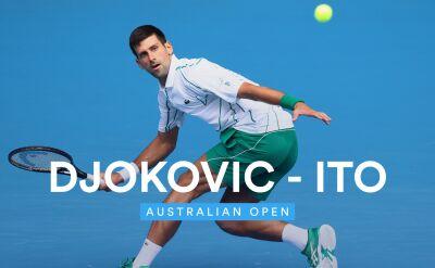 Skrót meczu Djoković - Ito w 2. rundzie Australian Open
