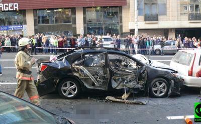 Samochód eksplodował w czasie jazdy w Kijowie