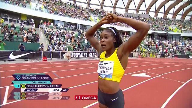Thompson-Herah wygrała bieg na 100 m podczas mityngu Diamentowej Ligi w Eugene