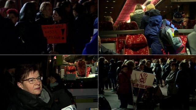 Nauczyciele jadą na demonstrację do Warszawy. Autokary ruszyły o świcie