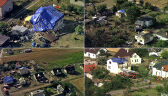 Zniszczenia po trąbie powietrznej. Błękitny24 nad wsią Zawały