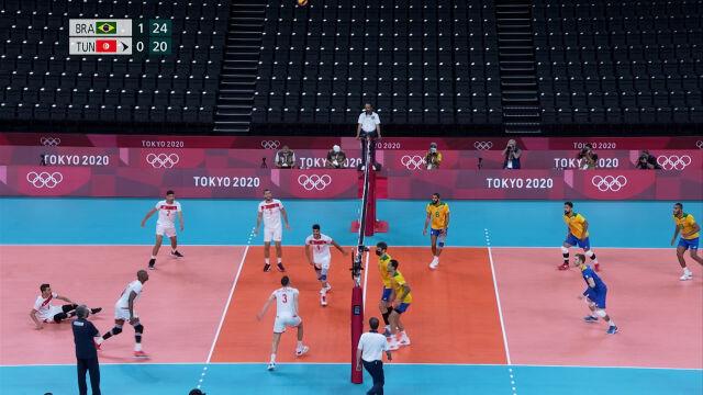Tokio. Skrót meczu Brazylia – Tunezja w siatkówce mężczyzn