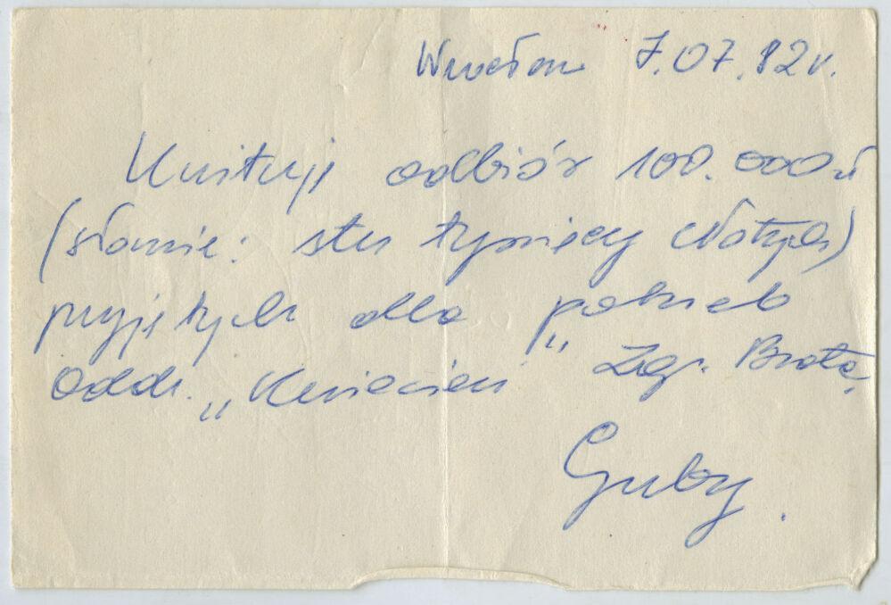 Pokwitowanie odbioru gotówki z 7 lipca 1982 roku