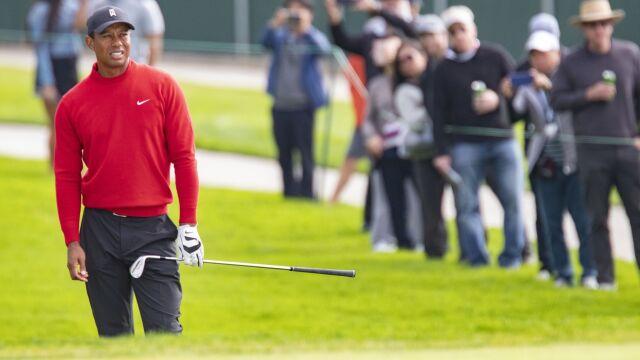 Tiger Woods trafiłdo dołka ze 130 metrów. Piłka wpadła i wypadła