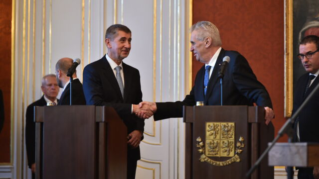 Prime Minister of the Czech Republic Andrej Babis shaking hands with the Czech President Miloz Zeman